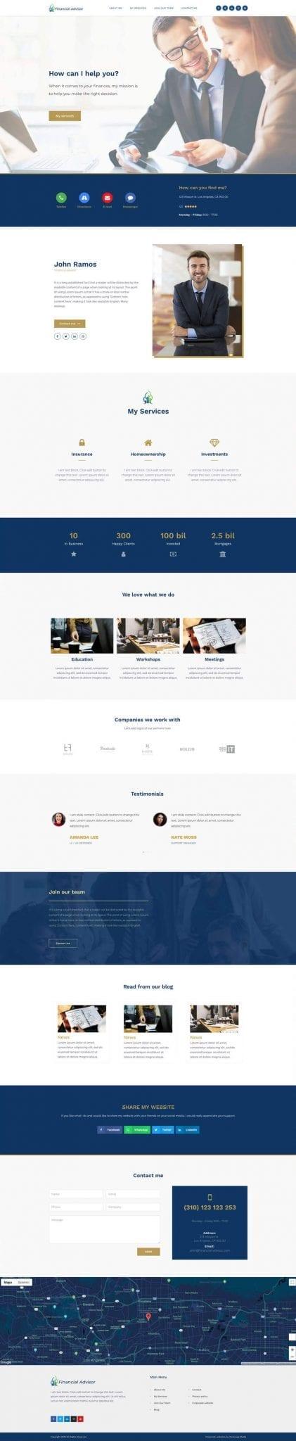 Website for financial advisors type of business
