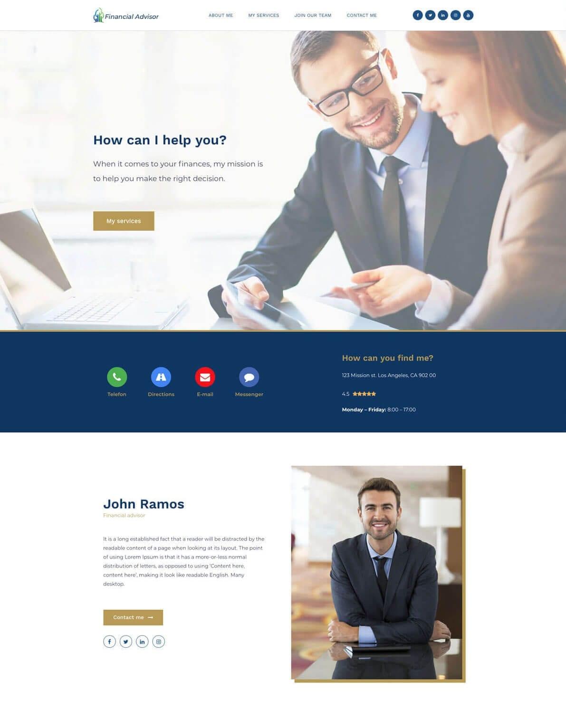 Financial advisor website preview gallery 1