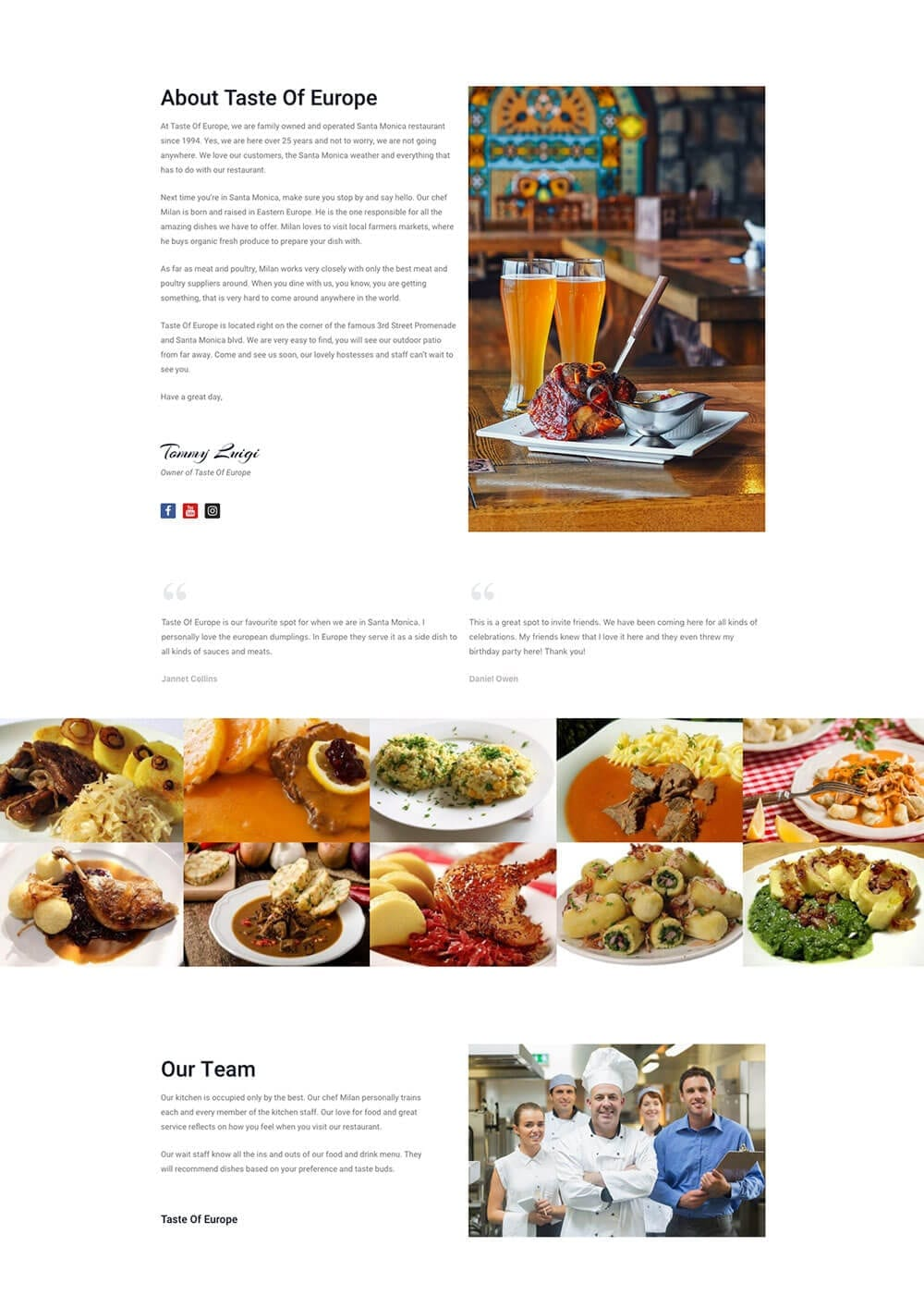 Restaurant website preview 5
