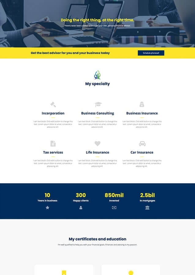 Financial advisor website preview 2