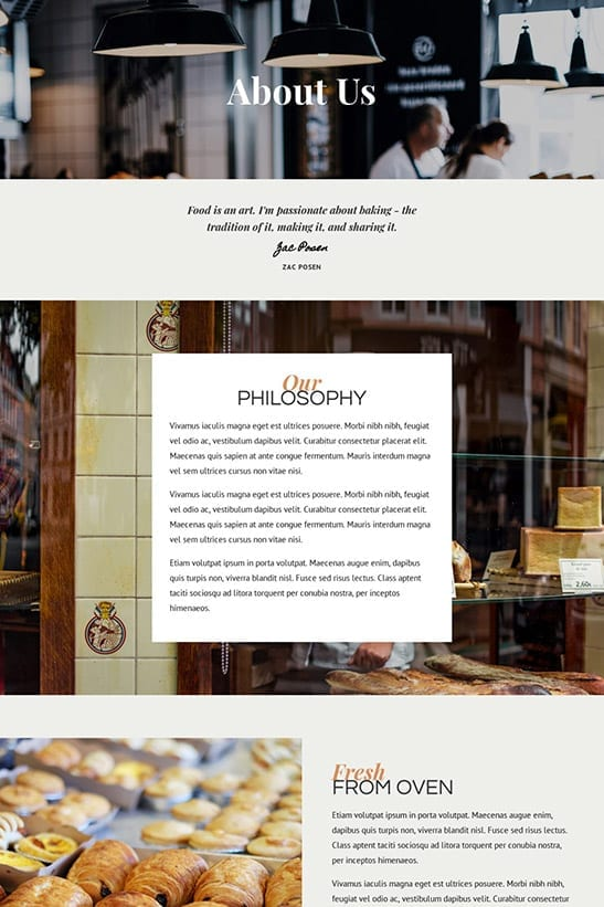 Bakery, Cafe and Restaurant website template design - About page 2