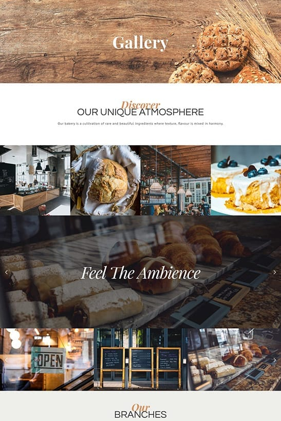 Bakery, Cafe and Restaurant website template design - Gallery page