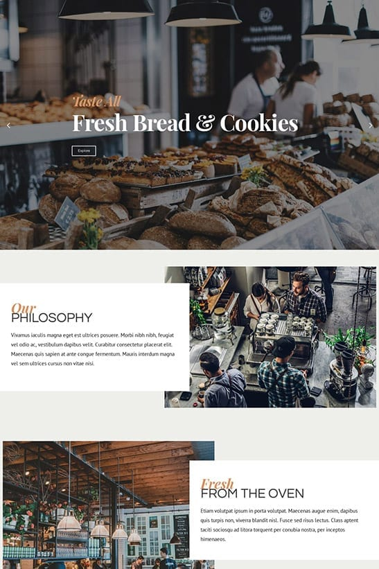 Bakery, Cafe and Restaurant website template design - homepage 2