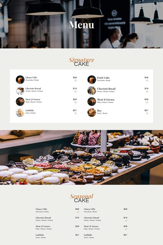 Bakery, Cafe and Restaurant website template design - menu page 1
