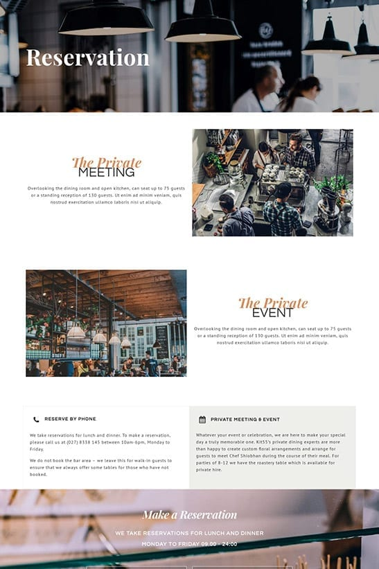 Bakery, Cafe and Restaurant website template design - Reservation page
