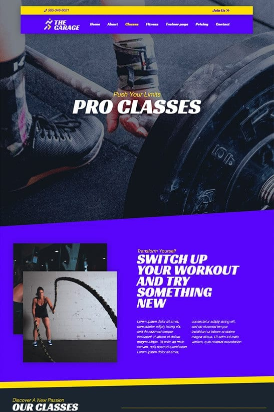 Fitness website theme - Classes page template
