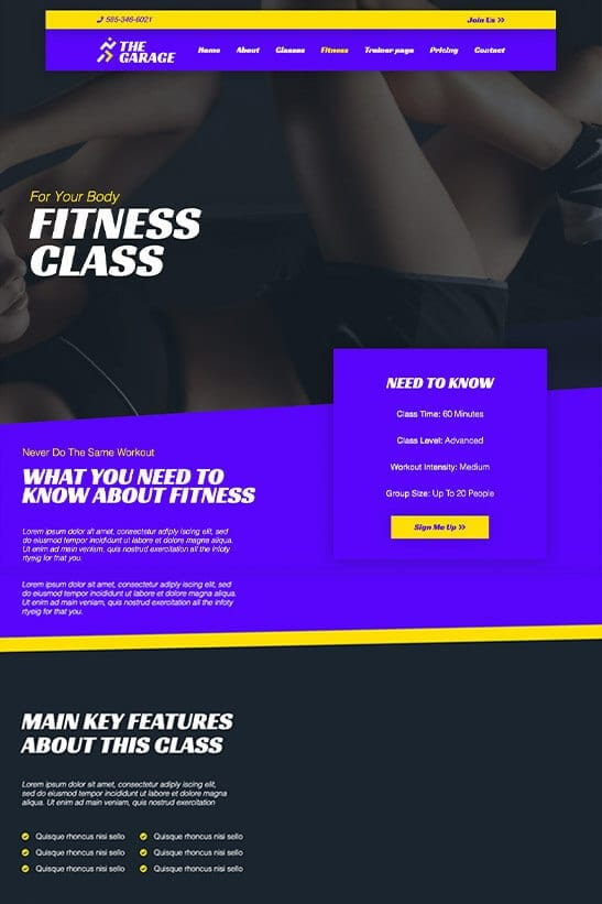 Fitness website theme - Fitness class page template