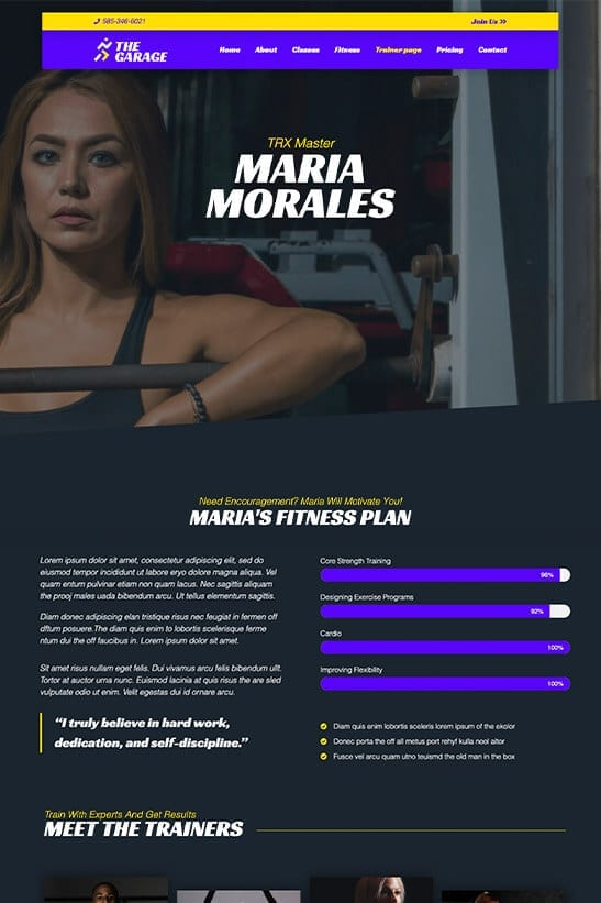 Fitness website theme - Trainers page template