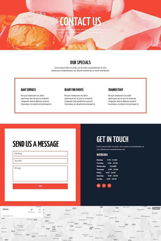 Restaurant website theme - contact page 1