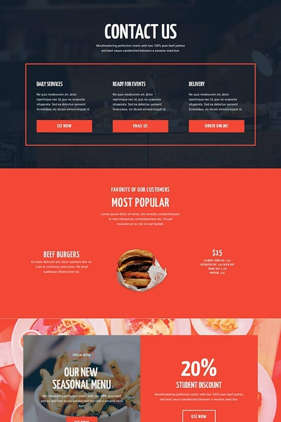 Restaurant website theme - contact page 2