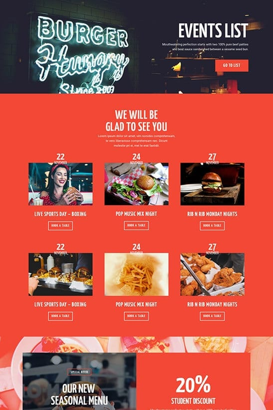 Restaurant website theme - events page