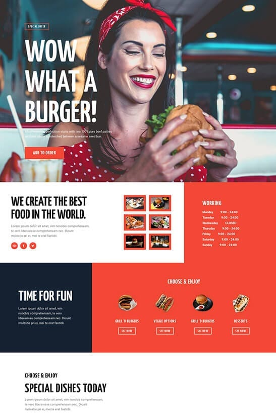 Restaurant website template - home page 2