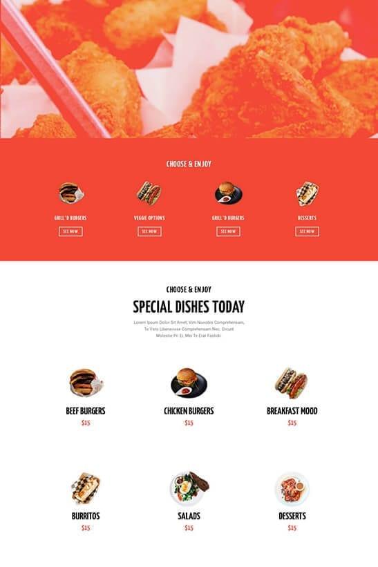 Restaurant website theme - Menu page 2