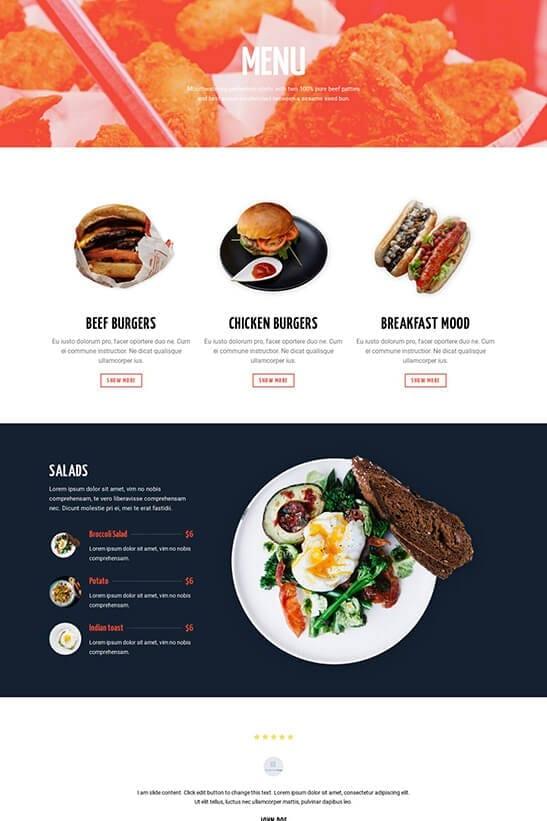 Restaurant website theme - Menu page 3