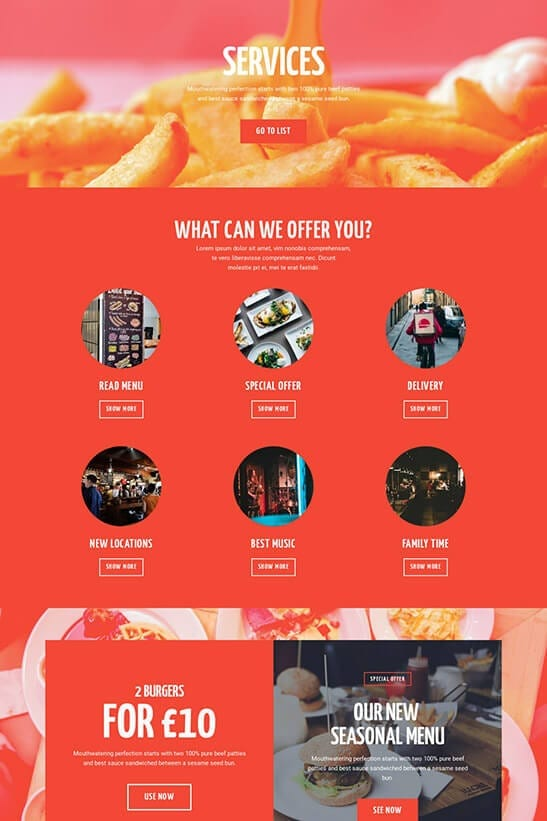 Restaurant website template - services page 1