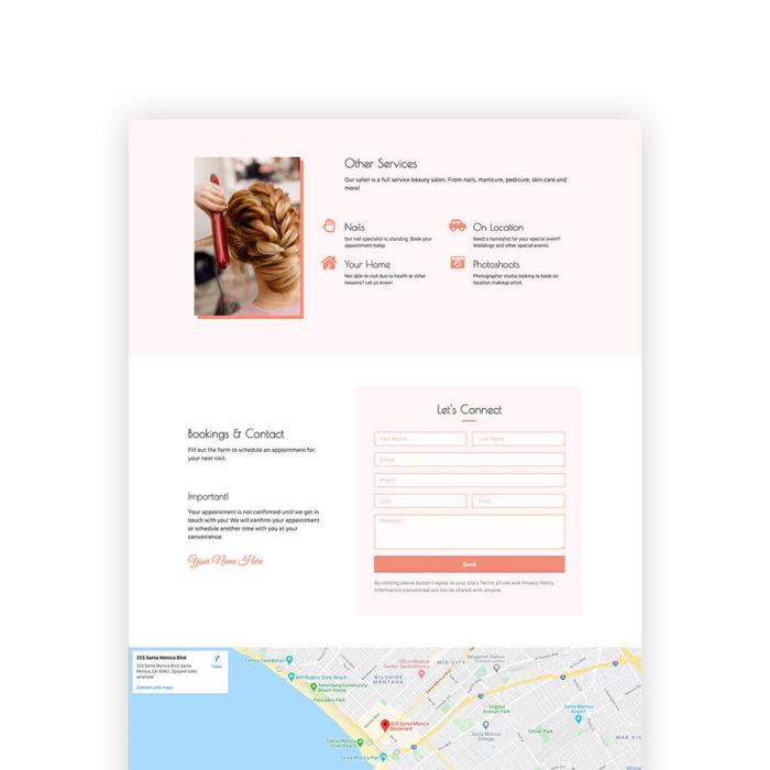 Beauty salon website - WordPress Elementor page template